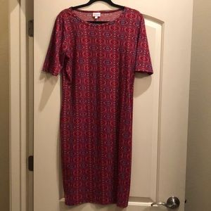 Red white & blue patterned LulaRoe Julia dress